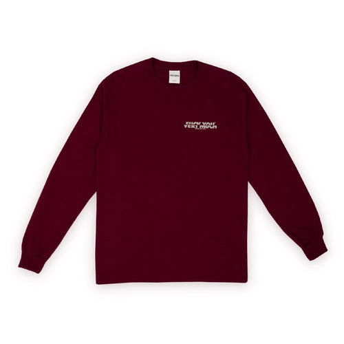F**K YOU VERY MUCH – FYVM L/S (BURGUNDY/WHITE)