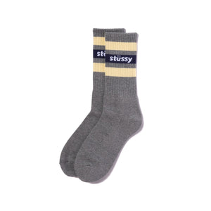 STÜSSY – FA19 STRIPE CREW SOCKS (GREY/NAVY)