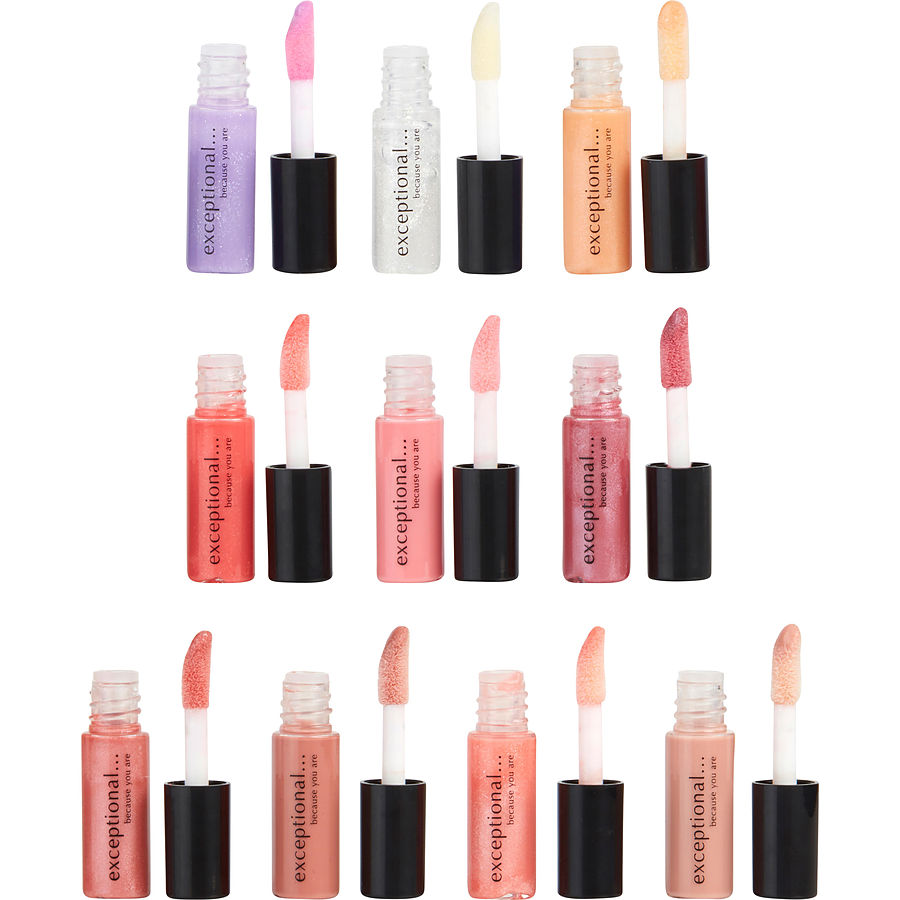 EXCEPTIONAL-BECAUSE YOU ARE Women 10 PIECE MINI LIP GLOSS SET EACH .04 OZ/1.2 mL by Exceptional Parfums