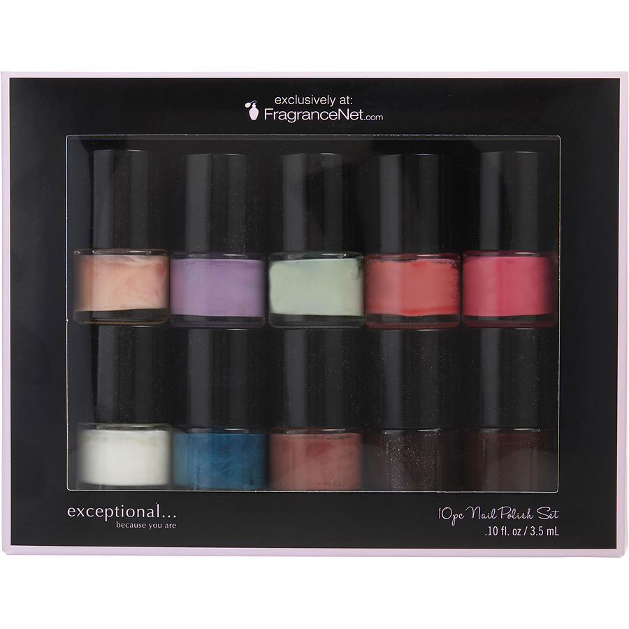 EXCEPTIONAL-BECAUSE YOU ARE Women SET-10 PIECE MINI NAIL POLISH VARIETY (EACH .10 OZ) by Exceptional Parfums