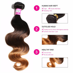 1 PC Ombre Brazilian Hair Body Wave Bundles Human Hair Bundles Deals Non Remy 3 Tone Ombre Human Hair Weave Extensions 1b/4/30 - LIZ'B'HAIR