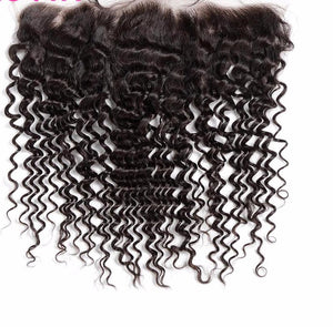 Liz'B' Malaysian Curly Hair Lace Frontal Closure 13x4 Bleached Knots With Baby Hair 100% Remy Human Hair Closure - LIZ'B'HAIR