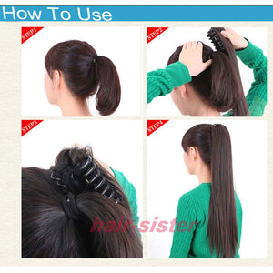 S-noilite 18 inches Long Ponytail Clip in Pony tail Hair Extensions Claw on Hair piece Wavy Black Brown Blonde Synthetic Fiber - LIZ'B'HAIR