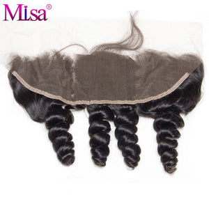 Mi Lisa 13 x 4 Loose Wave Pre Plucked Lace Frontal Closure With Baby Hair Ear To Ear  Bleached Knots 100 % Remy Human Hair Weave - LIZ'B'HAIR