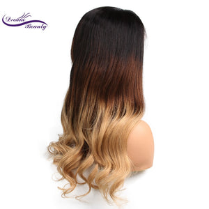 Lace front Human Hair Wig Remy peruvian wavy Hair 130% Density Ombre Color 3T 1b/4/27 Human Hair Wig Baby Hair - LIZ'B'HAIR