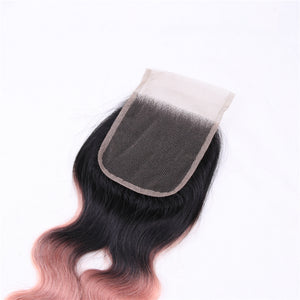 BY Pre-colored Human Hair Ombre Bundles With Closure Ot Rose Gold Non-Remy Brazilian Hair Natural Wave Bundles With Closure - LIZ'B'HAIR