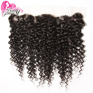 Beauty Forever Brazilian Curly Hair Lace Frontal Closure 13*4 Free Part Ear to Ear Remy Human Hair Closures Natural Color - LIZ'B'HAIR