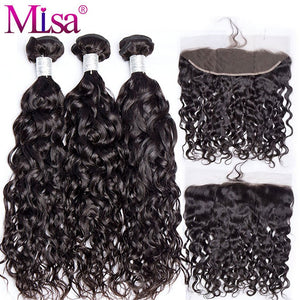 Mi Lisa Hair Brazilian Water Wave 3 Bundles With Lace Frontal Closure Remy 100% Human Hair Weave 13x 4 Lace Frontal With Bundle - LIZ'B'HAIR