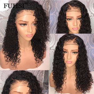 Brazilian Lace Front Human Hair Wig With Baby Hair Glueless Water Wave Lace Front Wig Pre Plucked Natural Hairline FUHSI Hair - LIZ'B'HAIR