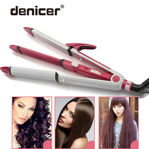 3 in 1 Electric Hair Curler and Straightener Personal Hair Styling Tools Thermostatic Wavy Tourmaline ceramic Curling Iron - LIZ'B'HAIR