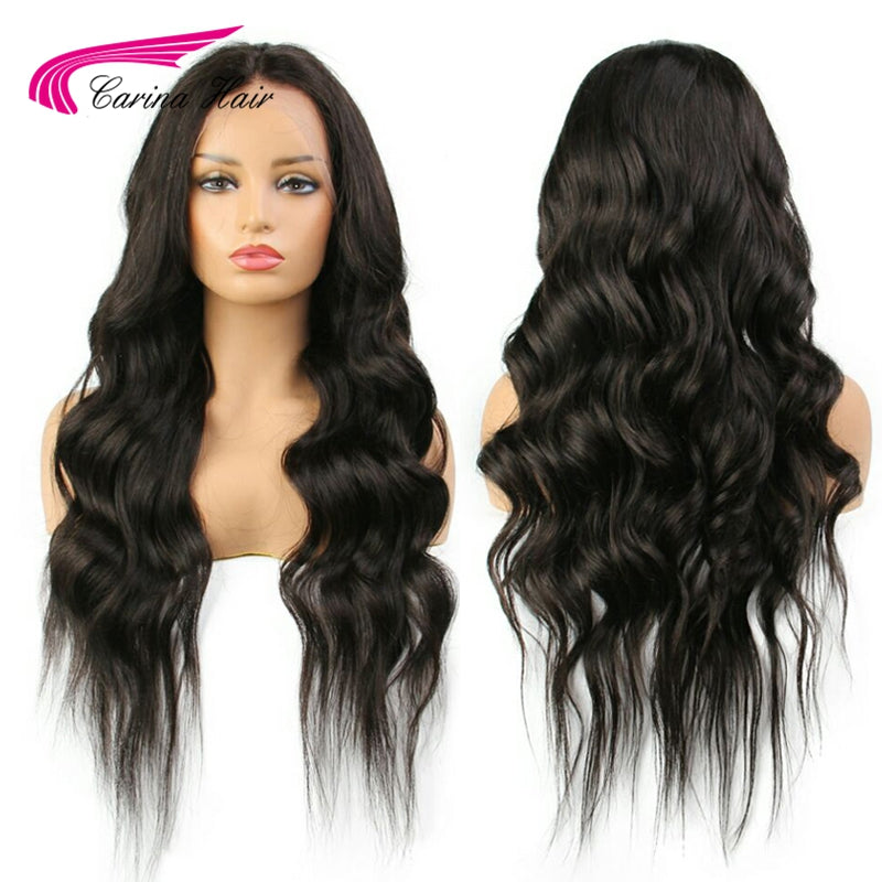 Carina 13*6 Deep Part Lace Front Human Hair Wigs with Baby Hair Natural Color Peruvian Remy Hair Body Wave Pre-Plucked Hairline - LIZ'B'HAIR