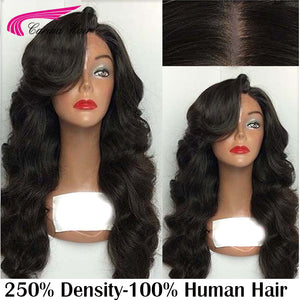 Body Wave Lace Front Human Hair Wigs with Baby Hair 250% Lace Front Wigs Brazilian Remy Hair Glueless Wigs with Bangs - LIZ'B'HAIR