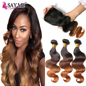 Ombre Brazilian Body Wave Human Hair Bundles With Lace Closure 1B/4/30 Blonde Remy Human Hair Weave 3 Bundles With Closure - LIZ'B'HAIR