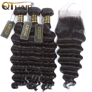 Loose Deep Wave Bundles With Closure Human Hair Bundles With Closure Brazilian Virgin Hair - LIZ'B'HAIR