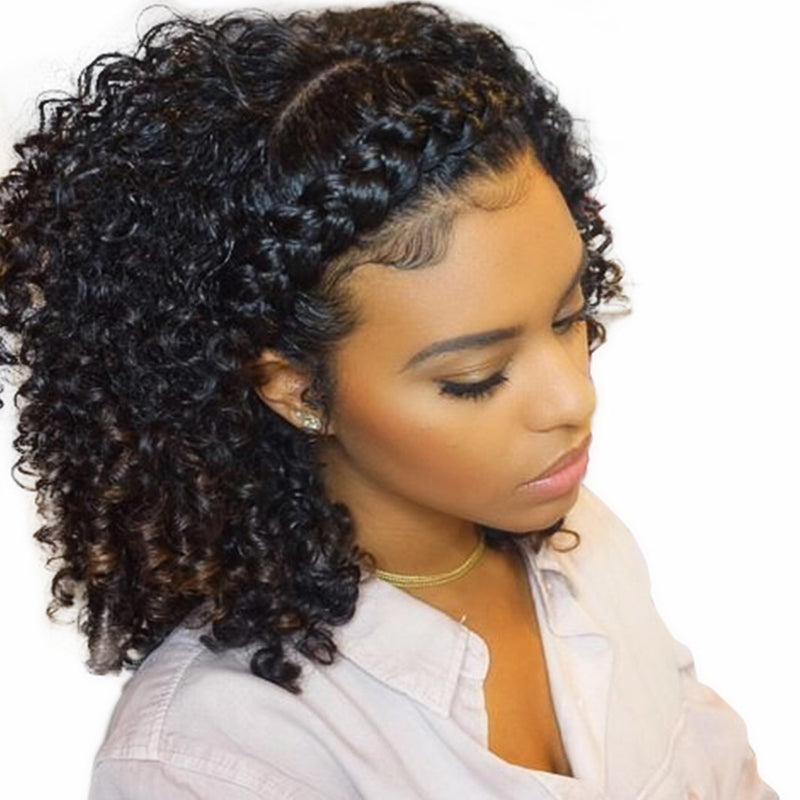 ... Kinky Curly Wig 360 Lace Frontal Wigs Pre Plucked With Baby Hair Lace  Front Human Hair ... ad8d3a979d89