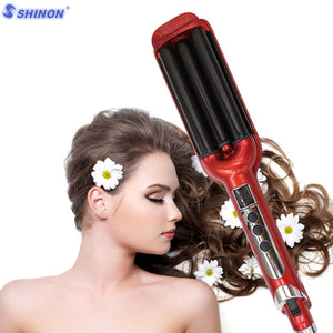 Sale 3 Barrels LCD Display Rollers Ceramic Curling Iron Hair Waver Iron Curling Wave Hair Curler Hair Wand Rollers Styling Tools - LIZ'B'HAIR