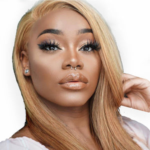 Lace Front Blonde Wig Pre Plucked hairline Brazilian Straight Remy Hair Honey Blonde Lace Wigs with Baby Hair - LIZ'B'HAIR