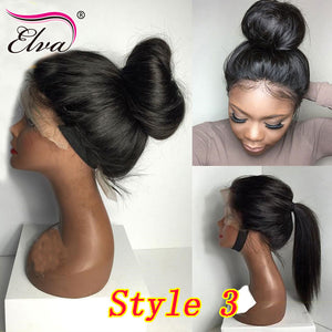 Elva Hair Human Hair Full Lace Wigs Pre Plucked Natural Hairline With Baby Hair Straight Brazilian Remy Hair Wigs Bleached Knots - LIZ'B'HAIR