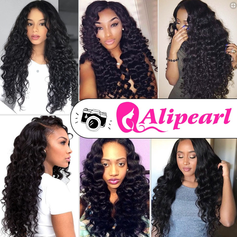 Ali Pearl Loose Deep Wave Bundles With Frontal Malaysian Human Hair Bundles With Lace Frontal Closure 3pcs Remy Hair Extensions Human Hair Weaves