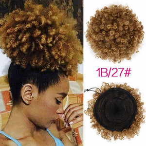 Synthetic Curly Hair Ponytail African American Short Afro Kinky Curly Wrap Synthetic Drawstring Puff Pony tail Hair Extensions - LIZ'B'HAIR
