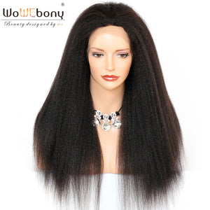 250% High Density Kinky Straight Human Hair Glueless Full Lace Wigs For Black Women Pre-plucked Hairline - LIZ'B'HAIR