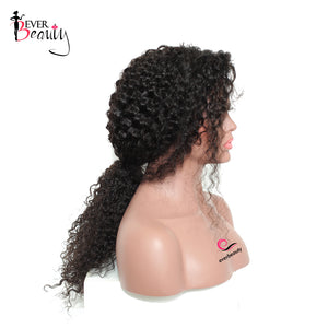 13x4 Curly Lace Front Wigs 250% Density Glueless Lace Human Hair Wig For Women Brazilian Pre Plucked Ever Beauty Remy Full Black - LIZ'B'HAIR