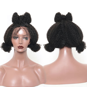 Lace Front Human Hair Wigs For Women Mongolian Afro Kinky Curly Wig Natural Black Pre Plucked 130% Density Remy Wig Sunny Queen - LIZ'B'HAIR