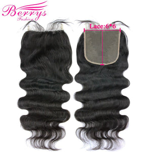 6x6 Lace Closure Body Wave Brazilian Virgin Hair Free Part Prepluncked Closure Unprocessed Human Hair Extensions Berrys Fashion - LIZ'B'HAIR
