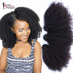 Mongolian Afro Kinky Curly Weave Human Hair Extensions 4B 4C Virgin Hair 1 Or 3 Bundles Natural Black 10-24inch Ever Beauty - LIZ'B'HAIR