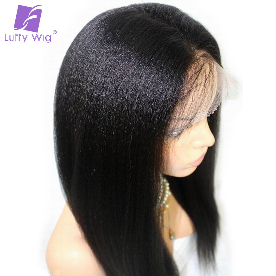 Luffy Light Yaki Straight Brazilian Full Lace Human Hair Wigs With Baby Hair Pre Plucked Hairline Bleached Knots Non Remy Hair - LIZ'B'HAIR