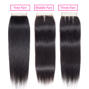 BY Straight Hair Bundles With Lace Closure Brazilian Hair Weave Bundles With Closure 100% Remy Human Hair Bundles With Closure - LIZ'B'HAIR