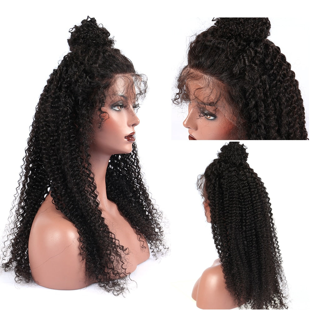 Kinky Curly Wig 250 Density Lace Front Human Hair Wigs For Women 13x4 Brazilian Glueless Lace Front Wig Natural Black Remy Hair Hair Extensions & Wigs