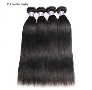Allove Straight Hair Bundles Brazilian Hair Weave Bundles 100% Human Hair Bundles Natural Color Non Remy Hair Weave 1/3/4 Pieces - LIZ'B'HAIR