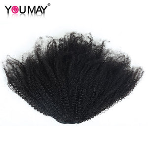 Afro Kinky Curly Hair Ponytail Mongolian Clip In Human Hair Extension Natural Color You May Remy Hair - LIZ'B'HAIR