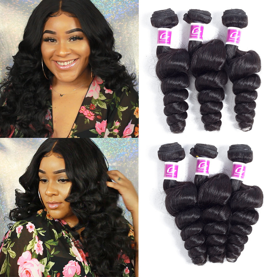 Colorful Queen Raw Indian Hair Loose Wave 8-26 Inch Human Hair Extensions Remy Hair Bundles Loose Wave Weave Hair Free Shipping - LIZ'B'HAIR