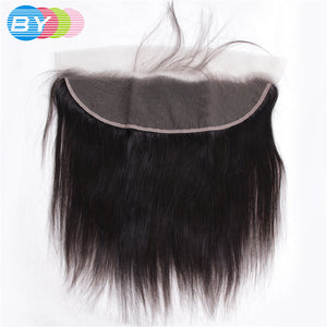 "BY Brazilian Straight Human Hair Non Remy Hair Ear to Ear Lace Frontal Closure 13""x4"" Free Part With Baby Hair Pre Plucked - LIZ'B'HAIR"