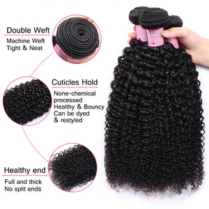 Mstoxic Afro Kinky Curly Bundles With Closure Non-Remy Human Hair Bundles With Closure Brazilian Hair Weave Bundles With Closure - LIZ'B'HAIR