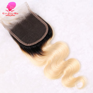 QUEEN BEAUTY 2 Tone Dark Root 613 Blonde Brazilian Ombre Body Wave Lace Closure 4x4 Remy Human Hair Weave Free Part Closure - LIZ'B'HAIR