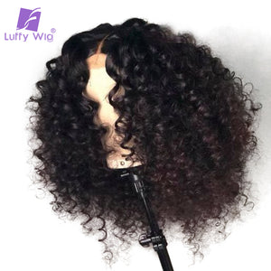 Luffy Glueless Pre Plucked Full Lace Curly Human Hair Wigs With Baby Hair Malaysian Non-Remy Hair Bleached Knots for women - LIZ'B'HAIR