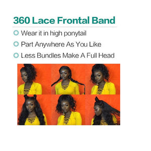 360 Frontal With Bundles Body Wave 100% Peruvian Remy Human Hair Weft Weave Pre Plucked - LIZ'B'HAIR