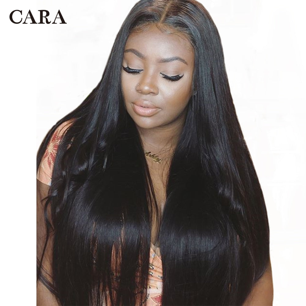 CARA Straight Lace Front Human Hair Wigs For Women 250% Brazilian Glueless Lace Wig With Baby Hair Natural Black 13x4 Remy Wigs - LIZ'B'HAIR