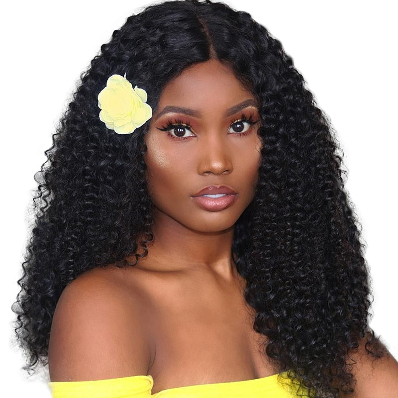 Kinky Curly Wig Glueless Lace Front Human Hair Wigs For Women Black 130% Lace Front Wig 13X4 Brazilian Lace Wig Remy Prosa - LIZ'B'HAIR