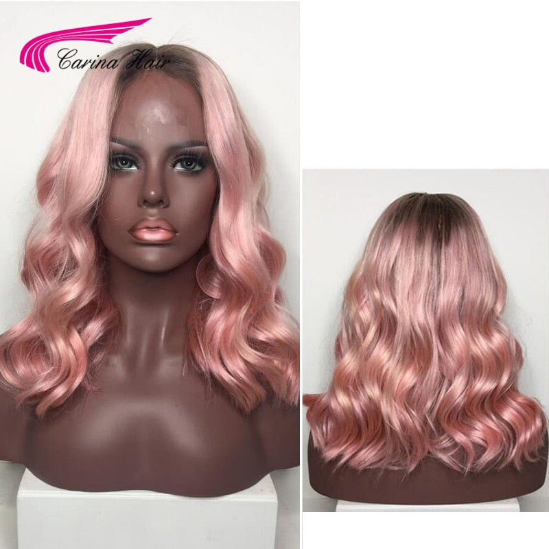 Brazilian Remy Human Hair Ombre Color Hair Lace Front Hair Wigs 130% Density Pink Glueless Lace Wigs with Baby Hair - LIZ'B'HAIR