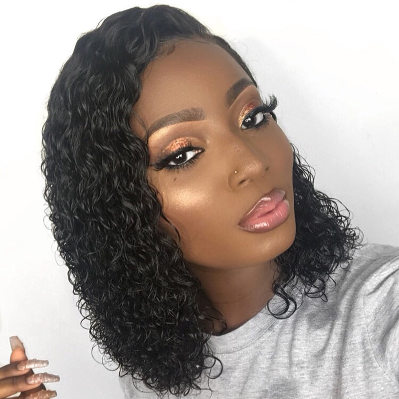 "Short 13x6 Lace Front Human Hair Wigs Pre Plucked With Baby Hair Deep Part Curly Brazilian Remy Hair Lace Front Wigs 8-16"" - LIZ'B'HAIR"