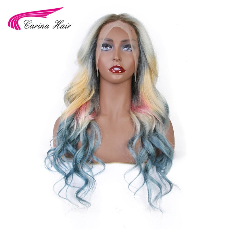 613 Blond Front Lace Wig For Women  Brazilian Mixed Blue Pink Yellow Blond Ombre Color Long Wavy Lace Frontal Wigs - LIZ'B'HAIR