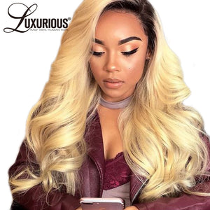 Luxurious Ombre #1B/613 Lace Front Human Hair Wigs Remy Hair Body Wave Blonde Wig With 4Inch Dark Black Roots - LIZ'B'HAIR