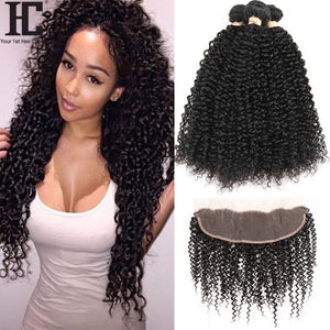 Malaysian Kinky Curly 3 Bundles With Frontal Human Hair Weave 13x4 Pre Plucked Lace Frontal Closure - LIZ'B'HAIR