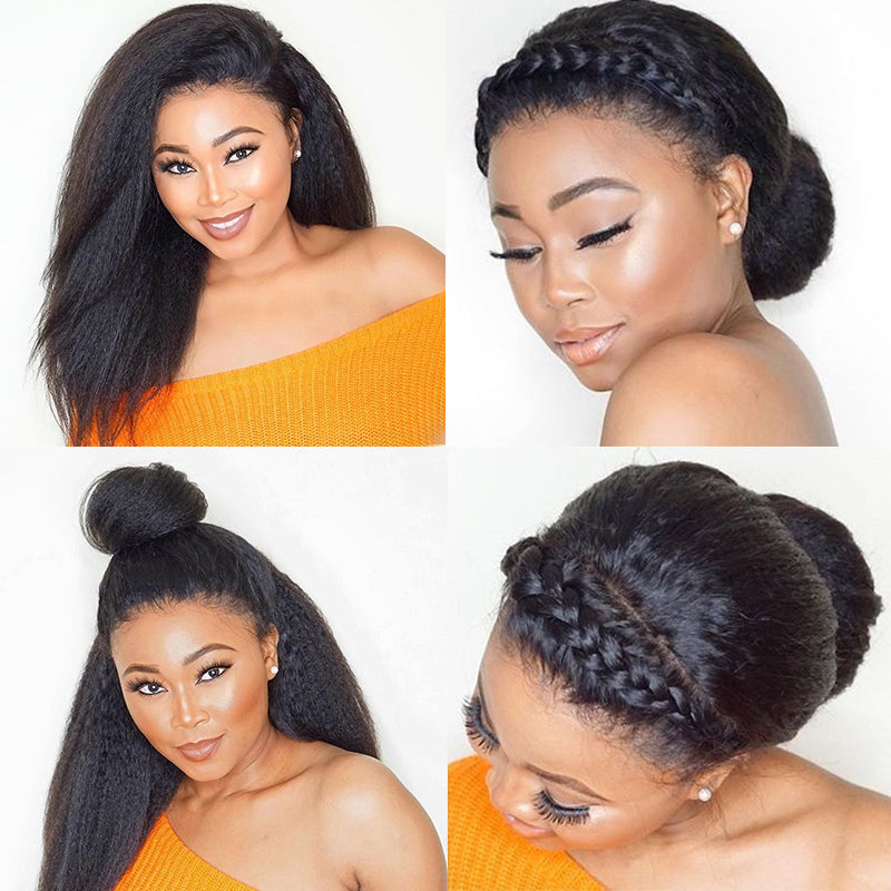Kinky Straight 360 Lace Frontal Wig Pre Plucked With Baby Hair 180% Density Italian Yaki Lace Front Human Hair Wigs Remy - LIZ'B'HAIR