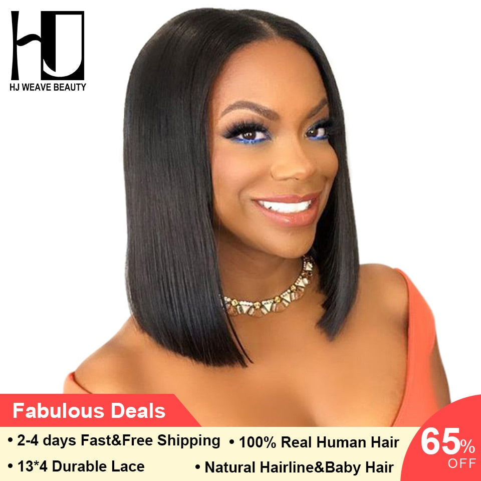 Short Lace Front Human Hair Wigs Brazilian Bob Wig with Pre Plucked Hairline Lace Remy Hair - LIZ'B'HAIR