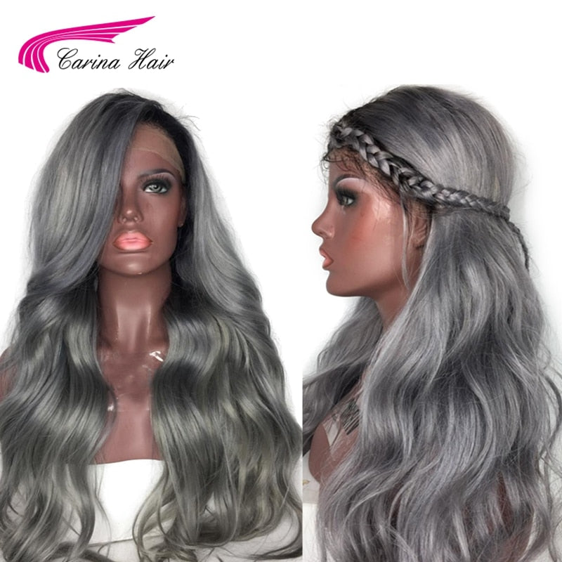 Ombre Grey Color Lace Front Human Hair Wigs with Baby Hair PrePlucked Hairline Remy Hair Brazilian Body Wave Glueless Wig - LIZ'B'HAIR